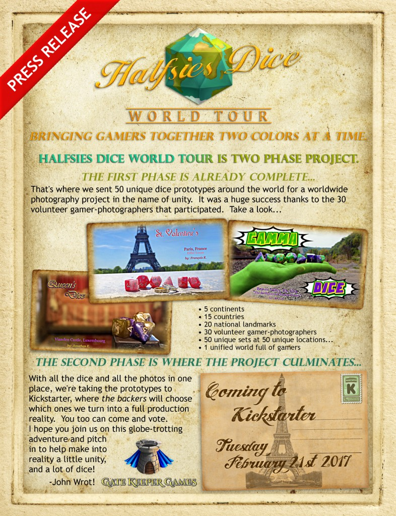 Press Release - Halfsies Dice World Tour - Gate Keeper Games