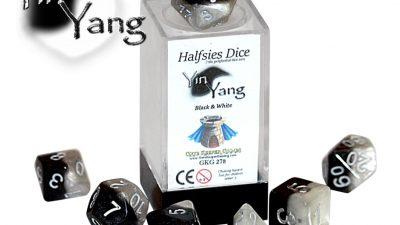 """Yin Yang - SILVER"" Halfsies 7 Die Polyhedral Set (LIMITED EDITION)"
