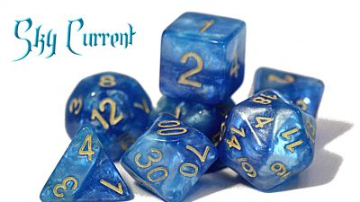 """Sky Current"" Halfsies Dice"