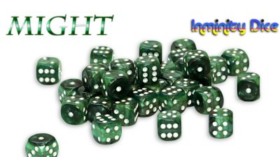 """Inminity Dice (12mm d6) """"MIGHT"""" Reality Shards Style"""