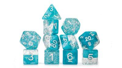 """Glitter Aqua"" Halfsies Dice - Sparkle Edition!"