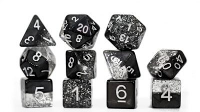 """Glitter Black"" Halfsies Dice - Sparkle Edition!"