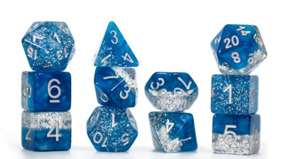 """Glitter Blue"" Halfsies Dice - Sparkle Edition!"