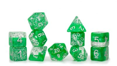 """Glitter Green"" Halfsies Dice - Sparkle Edition!"
