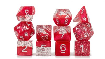 """Glitter Red"" Halfsies Dice - Sparkle Edition!"