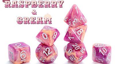 """Raspberry & Cream"" Aether Dice"